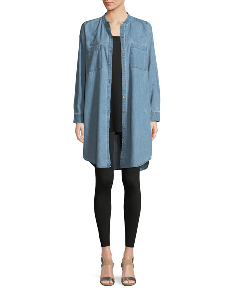 Mandarin-Collar Denim Shirtdress, Petite