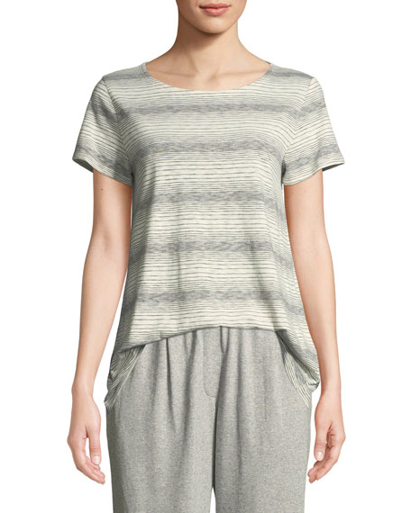 Eileen Fisher Short-Sleeve Striped Tee, Plus Size