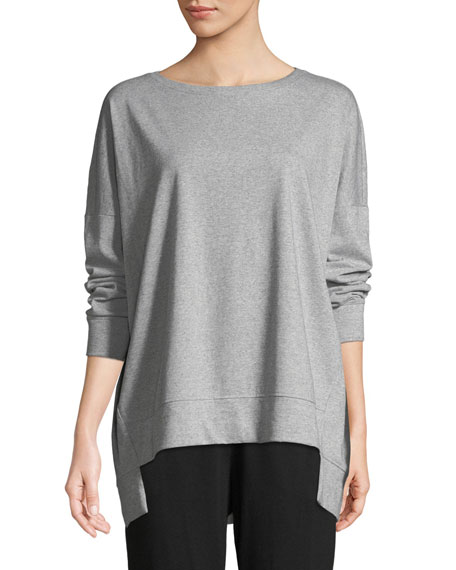 Eileen Fisher Speckled Knit Long-Sleeve Top