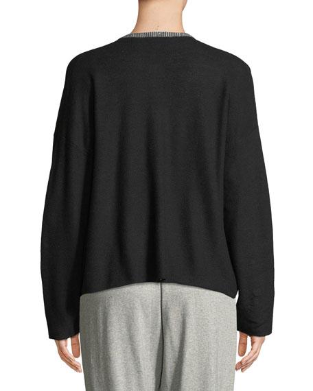 Organic Cotton Knit Zip-Front Jacket, Plus Size