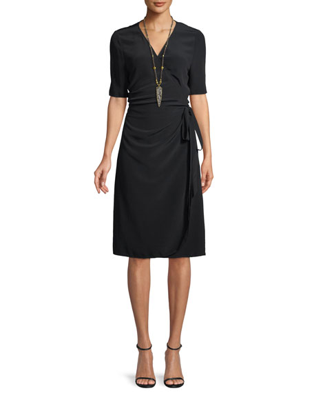 Eileen Fisher V-Neck Half-Sleeve Wrap Dress