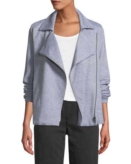 Herringbone Knit Cotton Zip Moto Jacket
