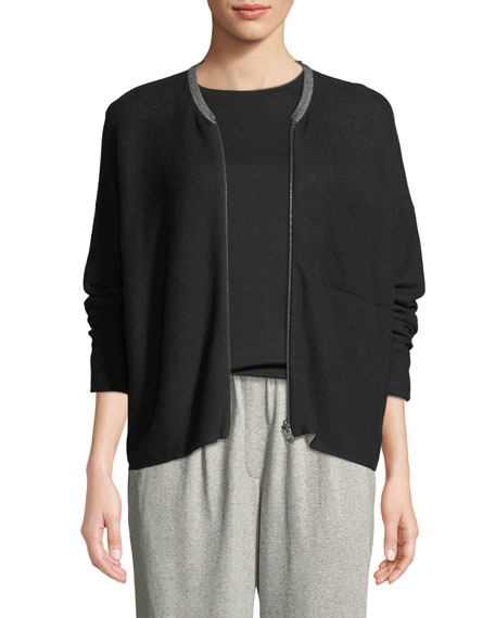 Eileen Fisher Organic Cotton Knit Zip-Front Jacket, Petite