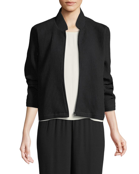 Eileen Fisher Stretch-Grid Zip-Front Bomber Jacket