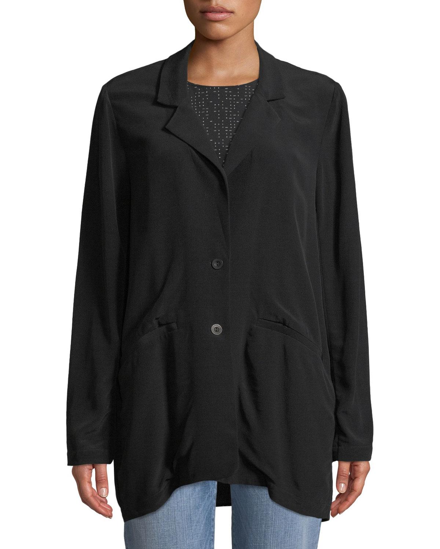 271bd102c420 Eileen Fisher Long Crepe Two-Button Blazer, Petite   Neiman Marcus