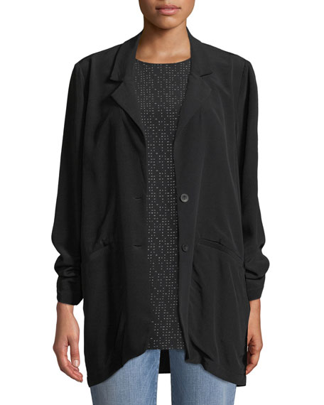 Eileen Fisher Long Crepe Two-Button Blazer, Petite