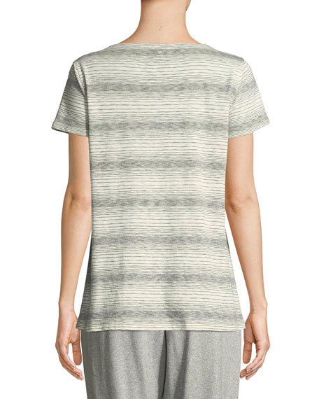 Short-Sleeve Striped Tee, Petite