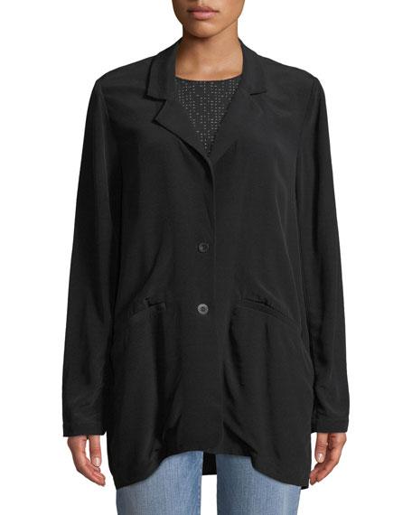 Long Crepe Two-Button Blazer, Plus Size