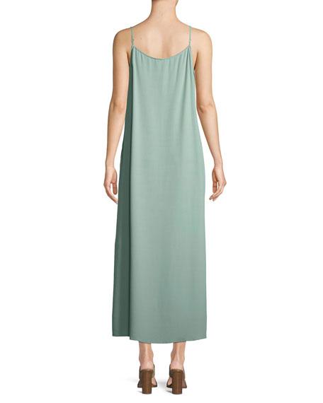 Long Solid Crepe Slip Dress