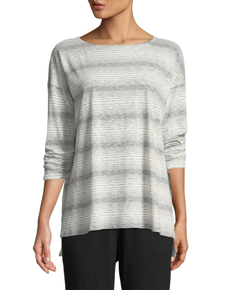 Eileen Fisher Striped Ballet-Neck Tee