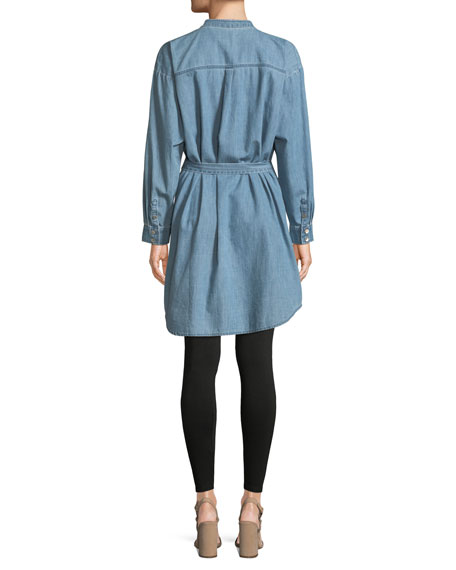 Mandarin-Collar Denim Shirtdress, Plus Size