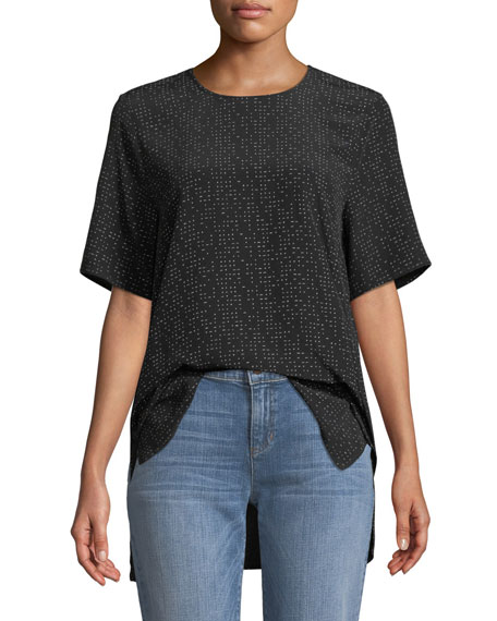Eileen Fisher Morse Code Short-Sleeve Box Top