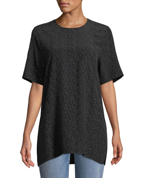 Morse Code Short-Sleeve Box Top, Petite