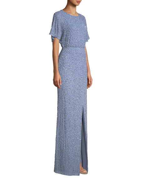 Arora Embellished Cape-Sleeve Gown