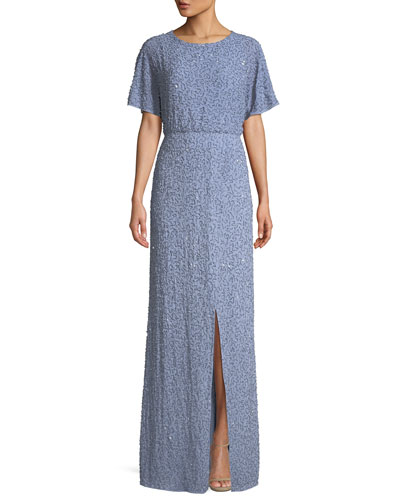 Arora Embellished Short-Sleeve Gown