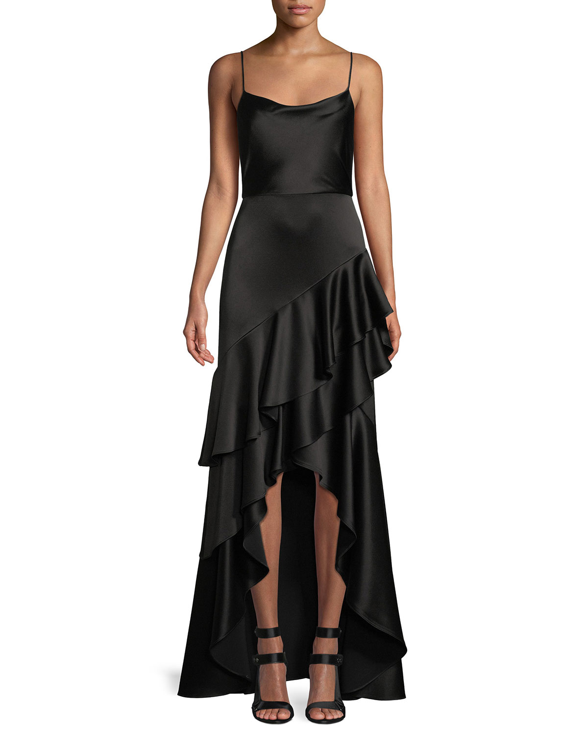 Alice + Olivia Lauralei Ruffle High-Low Gown | Neiman Marcus