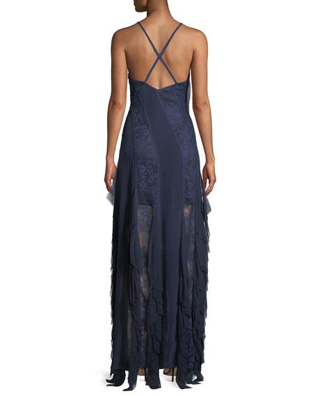 Jayda Sleeveless Ruffle Silk Godet Maxi Dress
