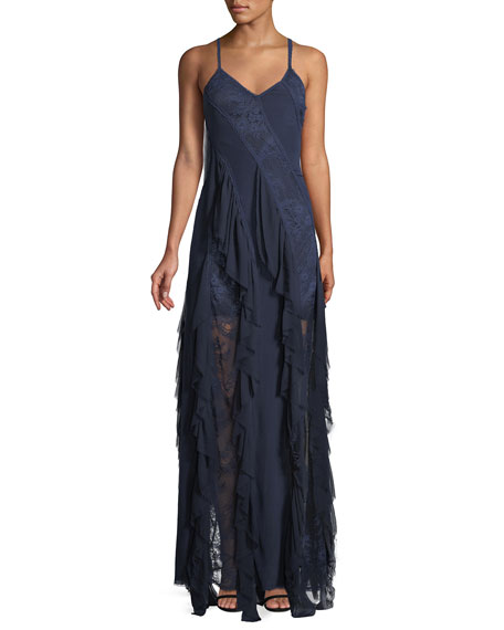 JAYDA SLEEVELESS RUFFLE SILK GODET MAXI DRESS