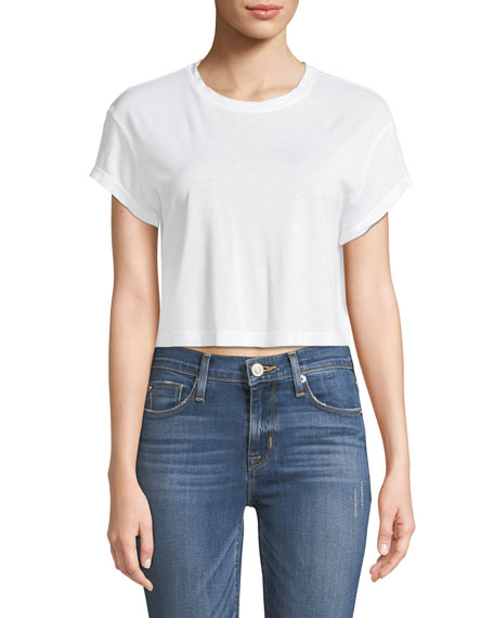 Splendid Lightweight Cropped Short-Sleeve Crewneck Tee