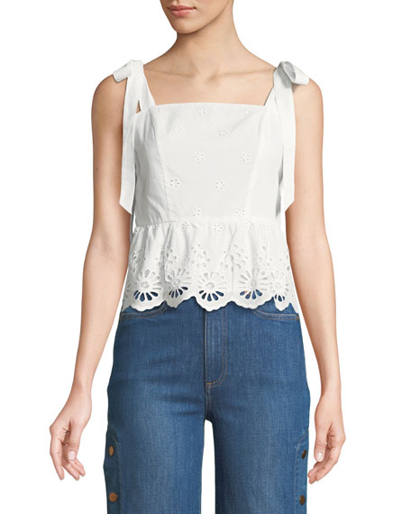Rebecca Minkoff Alma Sleeveless Eyelet Top