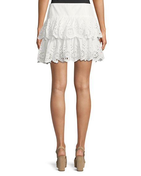 Nell Tiered Eyelet Mini Skirt