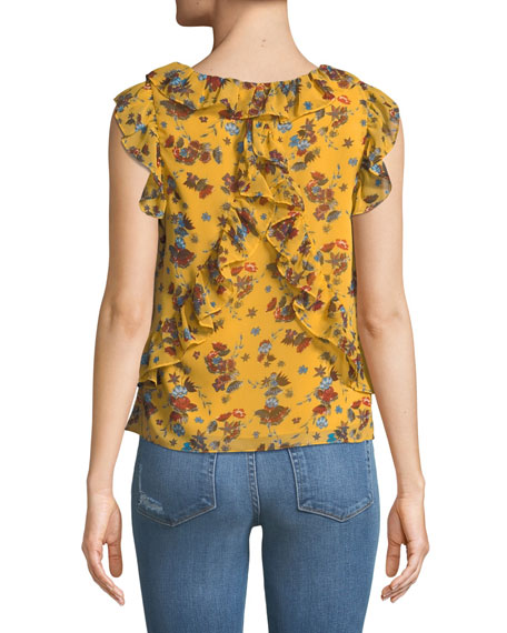 Daisy Floral-Print Ruffle Top