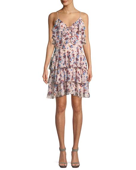 Marla Floral-Print Ruffle Mini Dress