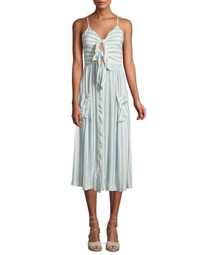 Derinda Striped Tie-Front Midi Dress