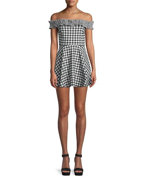 Lorrie Off-Shoulder Gingham Ruffle Mini Dress