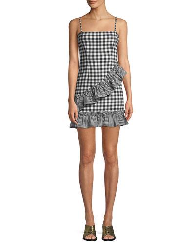 Gabby Sleeveless Gingham-Print Ruffle Short Dress