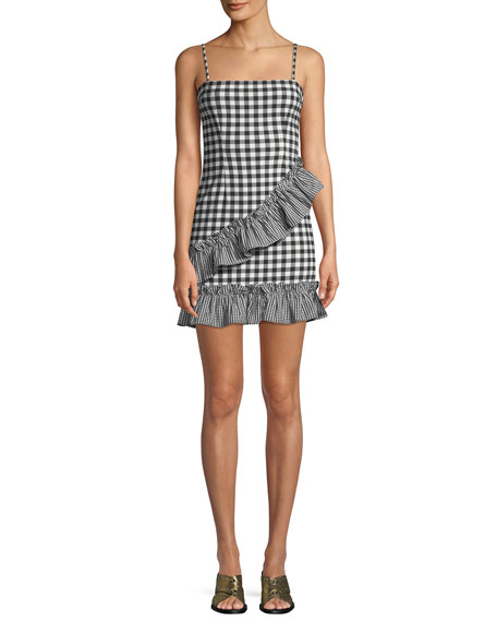 Gabby Sleeveless Gingham-Print Ruffle Short Dress