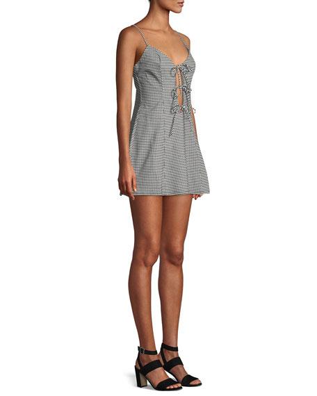 Beth Gingham-Print Tie-Front Mini Dress