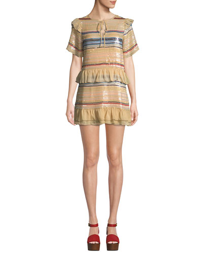 Mason Striped Sequin Flounce Short Dress