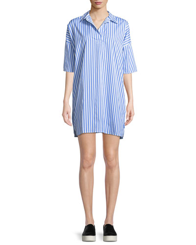 The Izzy Striped Cotton Shirt Dress