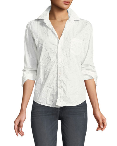 Barry Dot-Print Long-Sleeve Poplin Shirt