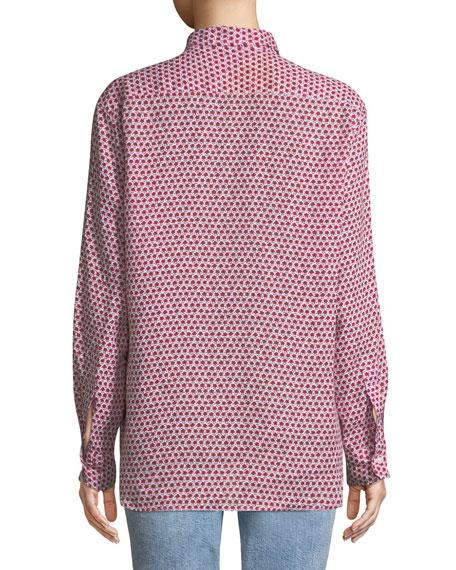 Eileen Long-Sleeve Button-Down Floral-Print Linen Shirt