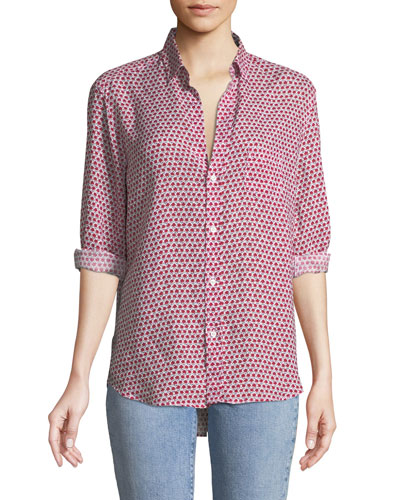 Eileen Long-Sleeve Button-Down Floral-Print Linen Shirt