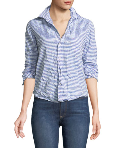 Barry Striped Poplin Button-Down Top
