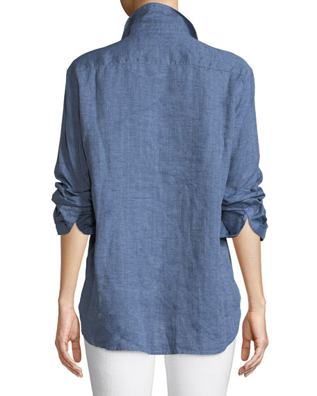 Eileen Button-Down Linen Chambray Shirt