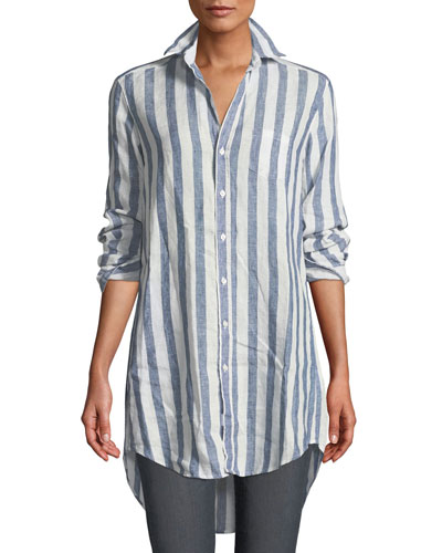 Mary Striped Button-Down Linen Top