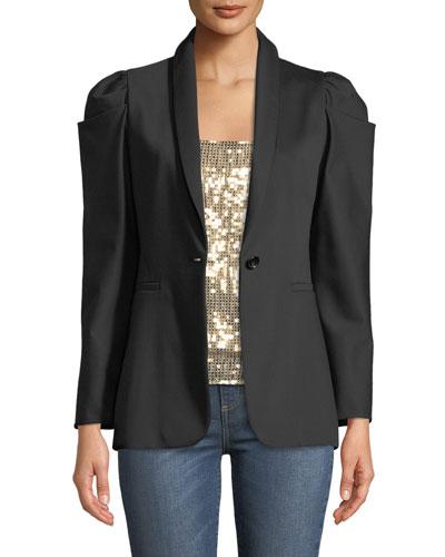 Morina Puff-Sleeve Single-Button Blazer