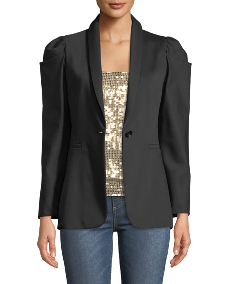 MORINA PUFF-SLEEVE SINGLE-BUTTON BLAZER