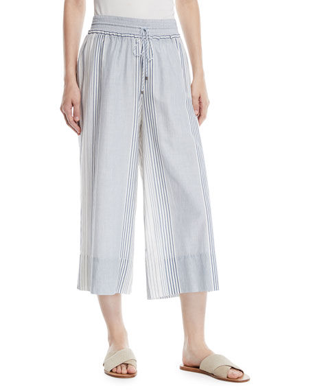 Tulum Striped Wide-Leg Cropped Pants