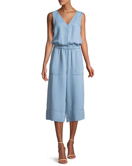 Indigo Cropped Wide-Leg Chambray Jumpsuit
