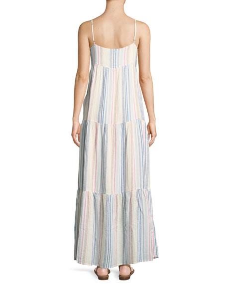 Arco Iris Striped Shirting Tiered Maxi Dress