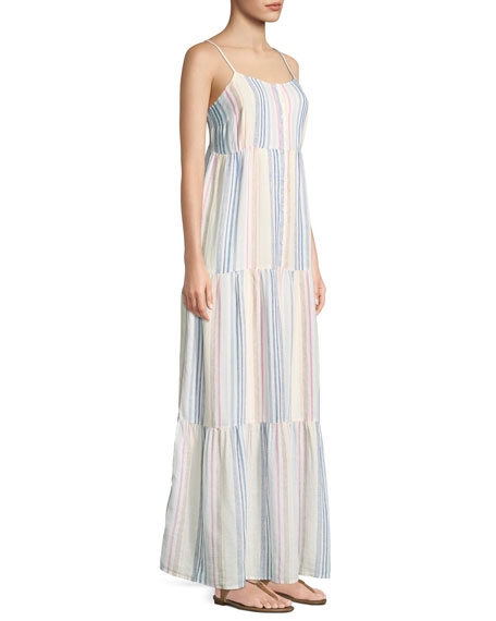 Arco Iris Striped Shirting Tiered Maxi Dress