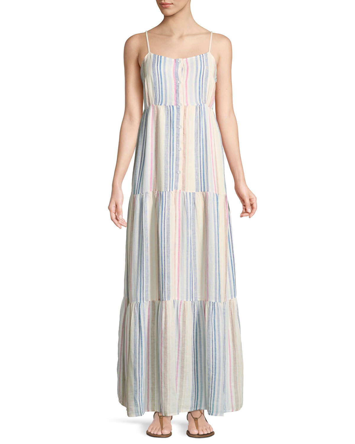 51b06e975f5 Splendid Arco Iris Striped Shirting Tiered Maxi Dress