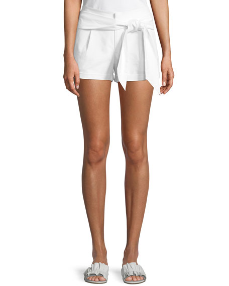Yelinda Tie-Front Cotton Shorts
