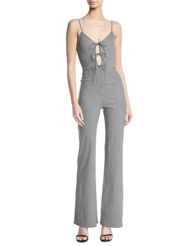 Nell Tie-Front Gingham Jumpsuit