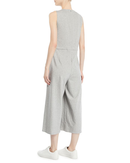 Sleeveless Speckled Knit Jumpsuit, Petite